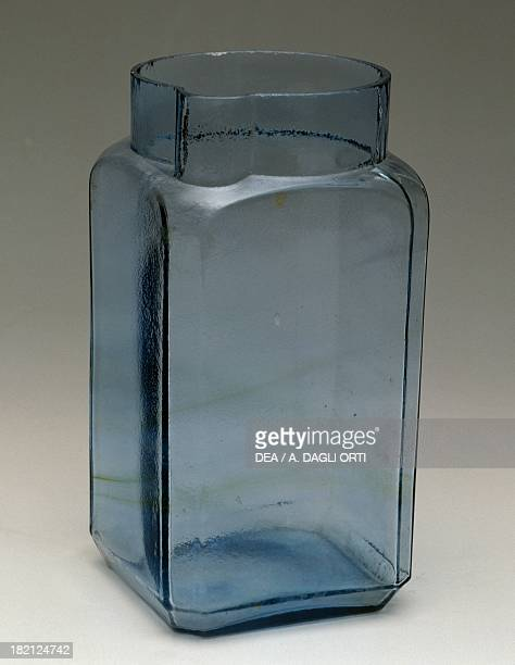 Azure glass vase with a square base and a spout 19301939 Italy 20th century
