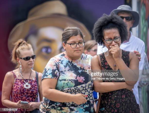 Azure Grimes, right, cried as she and Lisa Alvarenga, cq, left, visited George Floyd Square during the sentencing of former Minneapolis police...