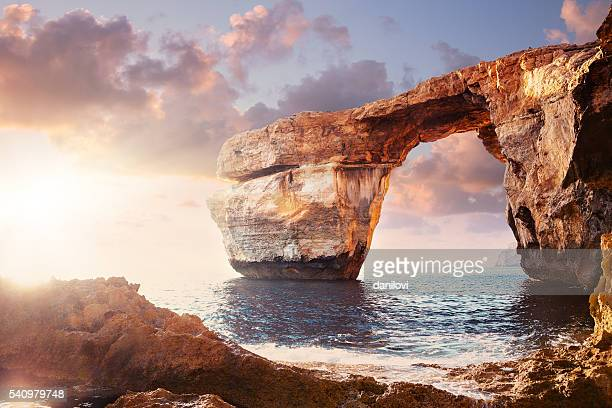 azure window in sunset, malta - rock formation stock pictures, royalty-free photos & images