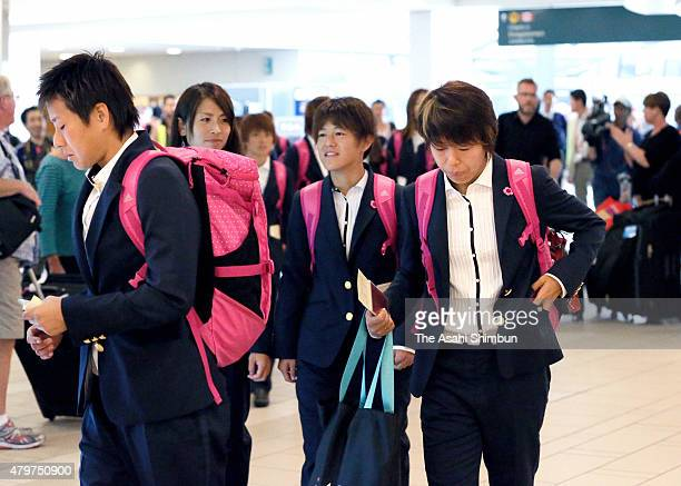 Azusa Iwashimizu of Japan is seen on departure at Vancouver International Airport on July 6, 2015 in Vancouver, Canada.
