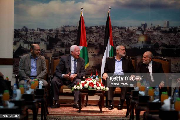 Azzam AlAhmed a senior Fatah official and head of the Hamas government Ismail Haniyeh and deputy speaker of Palestinian Parliament Ahmed Bahar attend...