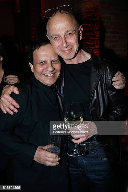 Azzedine Alaia and Artist Martin Szekely attend Azzedine Alaia presents his new Perfume 'Alaia Eau de Parfum Blanche' Held at Azzedine Alaia Gallery...