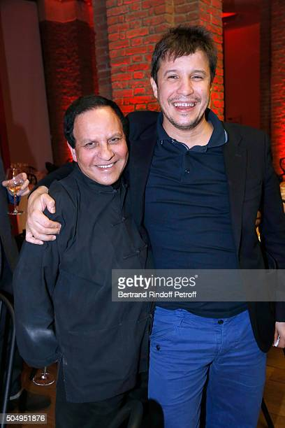 Azzedine Alaia and Contemporary artist Adel Abdessemed attend the 'Jean Nouvel and Claude Parent Musees a venir' Exhibition Opening at Galerie...
