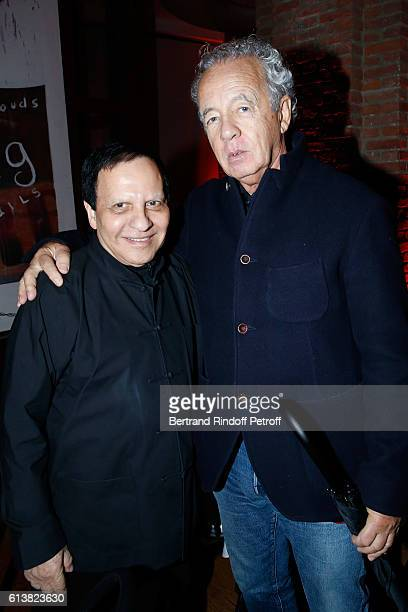 Azzedine Alaia and photographer Gilles Bensimon attend Azzedine Alaia presents his new Perfume 'Alaia Eau de Parfum Blanche' Held at Azzedine Alaia...
