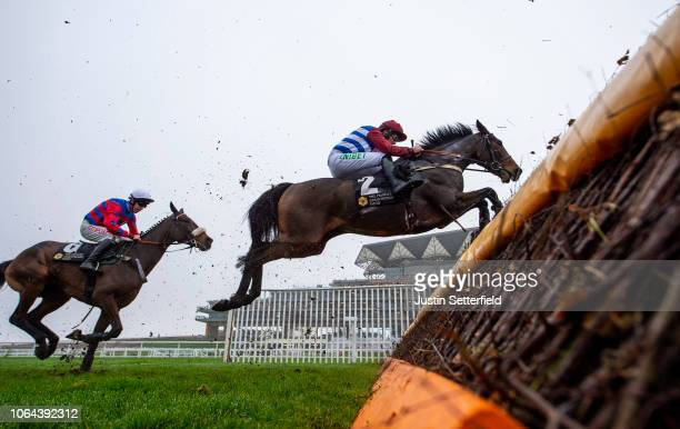 Azzerti ridden by AP Heskin jumps the last in the Tindle Newspapers Novices' Chase at Ascot Racecourse on November 23 2018 in Ascot England
