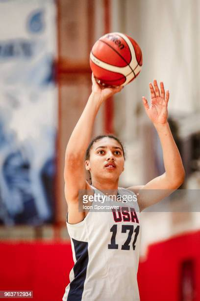 Azzi Fudd of Falls Church Va shoots while participating in tryouts for the 2018 USA Basketball Women's U17 World Cup Team at the United States...