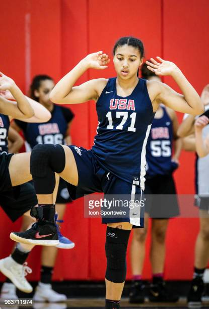 Azzi Fudd of Falls Church Va stretches before participating in tryouts for the 2018 USA Basketball Women's U17 World Cup Team at the United States...