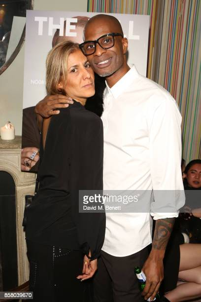 Azzi Glasser and Andre Howard Gayle attend the launch of 'The Fall' Issue One hosted by Andre Howard Gayle at The Groucho Club on October 5 2017 in...