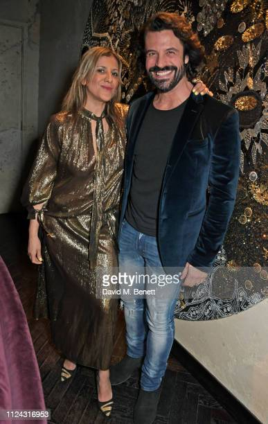 Azzi Glasser and Christian Vit attend the launch of The Mandrake's 2019 Artist In Residence programme hosted by Azzi Glasser Alan Carr at YOPO in The...
