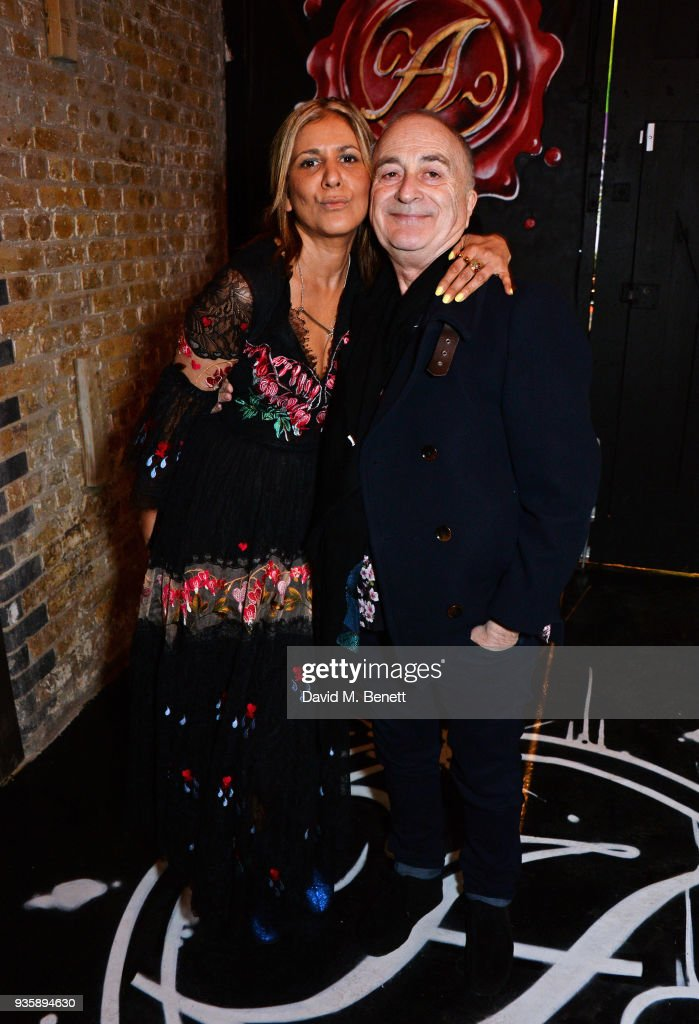 Azzi Glasser (L) and Tony Robinson attend The Perfumer's Story evening of Scentsory delights hosted by Aures London & Azzi Glasser at Sensorium on March 21, 2018 in London, England.