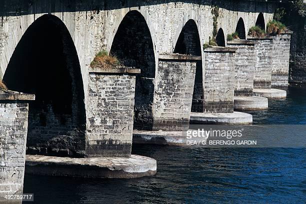 Azzone Visconti Bridge or Old Bridge over the River Adda 13361338 Lecco Lombardy Italy Detail