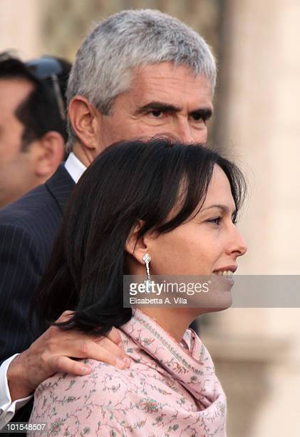 Azzurra Caltagirone and Pierferdinando Casini arrive at the Quirinale Palace to attend a Gala Dinner hosted by Italy's President Giorgio Napolitano...