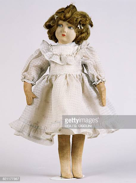 Azzurra, rag doll with wool velour legs, arms and face, and cloth and gauze body, height 47 cm, 1930-1940. Italy, 20th century. Italy