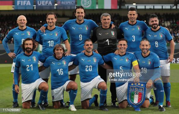 Azzurri Legends team line up prior to the friendly match between DFB-All-Stars and Azzurri Legends at Sportpark Ronhof Thomas Sommer on October 7,...