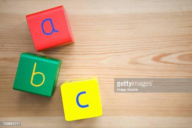 A b c in building blocks