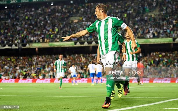 b17 Joaquin Sanchez of Real Betis Balompie celebrates after scoring during the match between Real Betis Balompie vs Malaga CF as part of La Liga at...