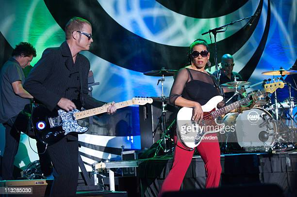 B52s member Keith Strickland and Tracy Wormworth of The B52s touring band performs on stage at Route 66 Casino's Legends Theater on April 29 2011...