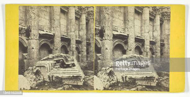 """Baalbek - Temple of Jupiter, 1860/90. Roman temple at the Baalbek complex in Heliopolis Syriaca ]. Albumen print, stereocard, no. 71 from """"Good's..."""