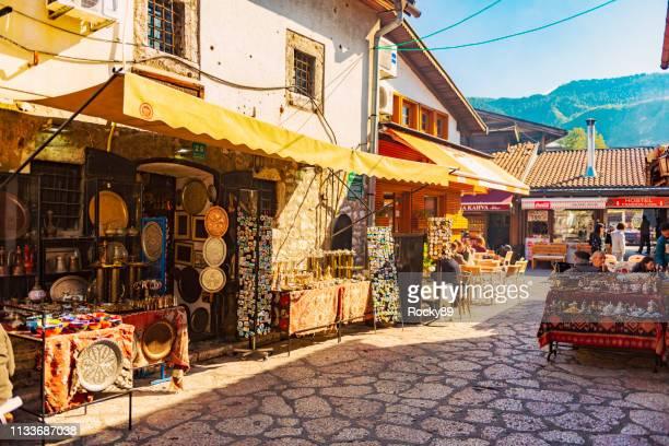 baščaršija street kazandžiluk – old town of sarajevo, bosnia and hercegovina - sarajevo stock pictures, royalty-free photos & images