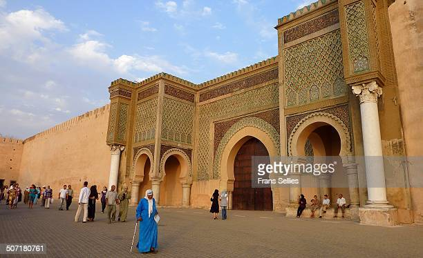 Bab Mansour gate, named after the architect, El-Mansour. It was completed 5 years after Moulay Ismail's death, in 1732. The marble columns were taken...