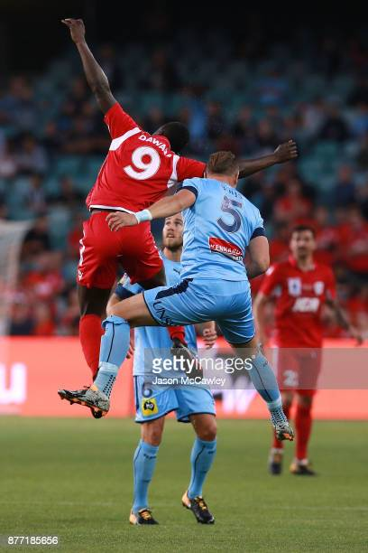 Baba Diawara of Adelaide and Jordy Buijs of Sydney compete for the ball during the FFA Cup Final match between Sydney FC and Adelaide United at...
