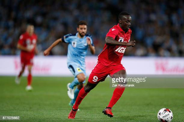 Baba Diawara of Adelaide controls the ball during the FFA Cup Final match between Sydney FC and Adelaide United at Allianz Stadium on November 21...