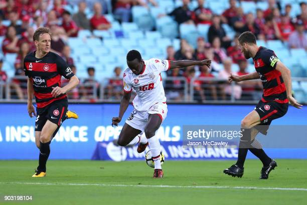Baba Diawara of Adelaide controls the ball during the round 15 ALeague match between the Western Sydney Wanderers and Adelaide United at ANZ Stadium...