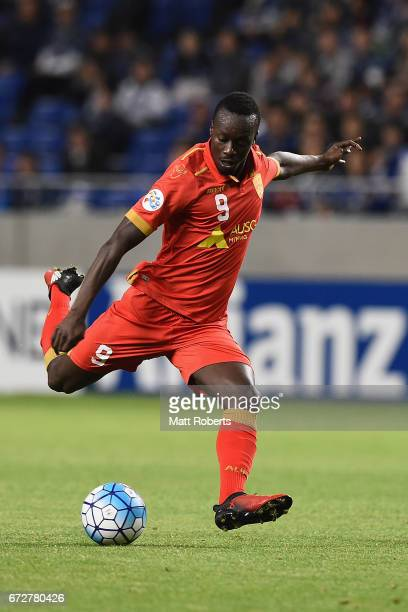 Baba Diawara of Adelaide United kicks the ball during the AFC Champions League Group H match between Gamba Osaka v Adelaide United at Suita City...