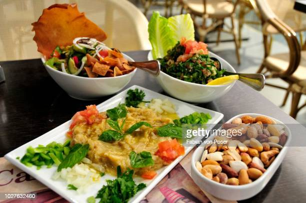 baba ganoush, eggplant or aubergine cream, fattush, bread salad and tabouleh, parsley salad, arabic mezze, appetizers in a beirut restaurant, beirut, lebanon, middle east - tabbouleh stock pictures, royalty-free photos & images