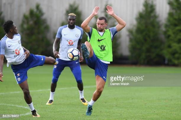 Baba Rahman and Danny Drinkwater of Chelsea during a training session at Chelsea Training Ground on September 4 2017 in Cobham England