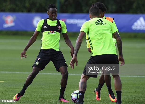 Baba Rahman during a Chelsea training session at Chelsea Training Ground on July 12 2016 in Cobham England