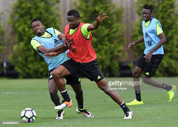 Baba Rahman John Obi Mikel at Chelsea Training Ground on July 13 2016 in Cobham England