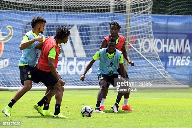 Baba Rahman Michy Batshuayi during a Chelsea training session at Waldarena on July 18 2016 in Velden Austria