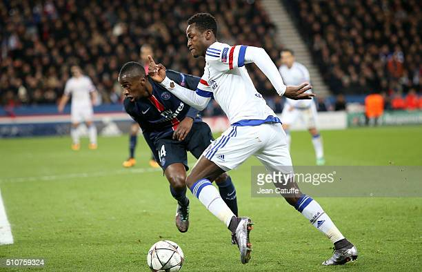 Baba Rahman of Chelsea and Blaise Matuidi of PSG in action during the UEFA Champions League round of 16 first leg match between Paris SaintGermain...