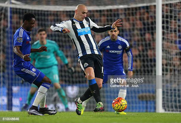 Baba Rahman of Chelsea and Jonjo Shelvey of Newcastle United during the Barclays Premier League match between Chelsea and Newcastle United at...