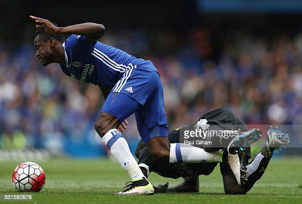 Baba Rahman of Chelsea and Ngolo Kante of Leicester City compete for the ball during the Barclays Premier League match between Chelsea and Leicester...