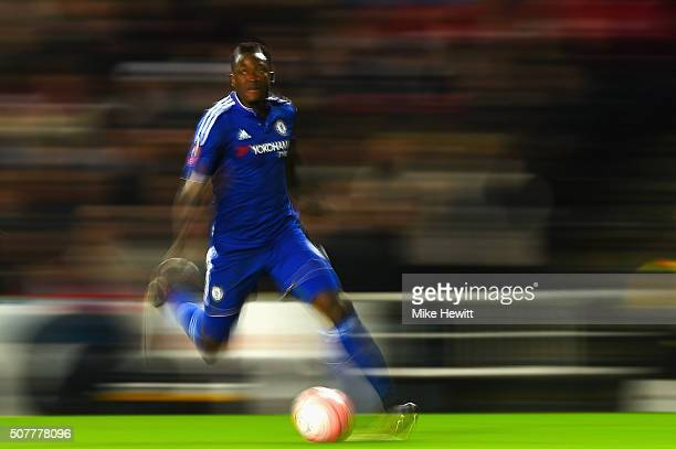 Baba Rahman of Chelsea runs with the ball during the Emirates FA Cup Fourth Round match between Milton Keynes Dons and Chelsea at Stadium mk on...