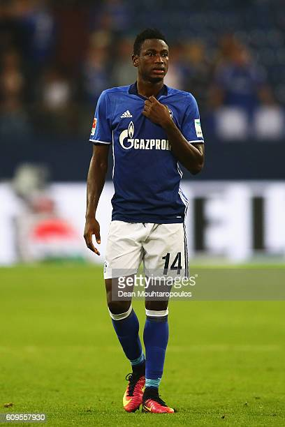 Baba Rahman of Schalke looks dejected after defeat during the Bundesliga match between FC Schalke 04 and 1 FC Koeln at VeltinsArena on September 21...