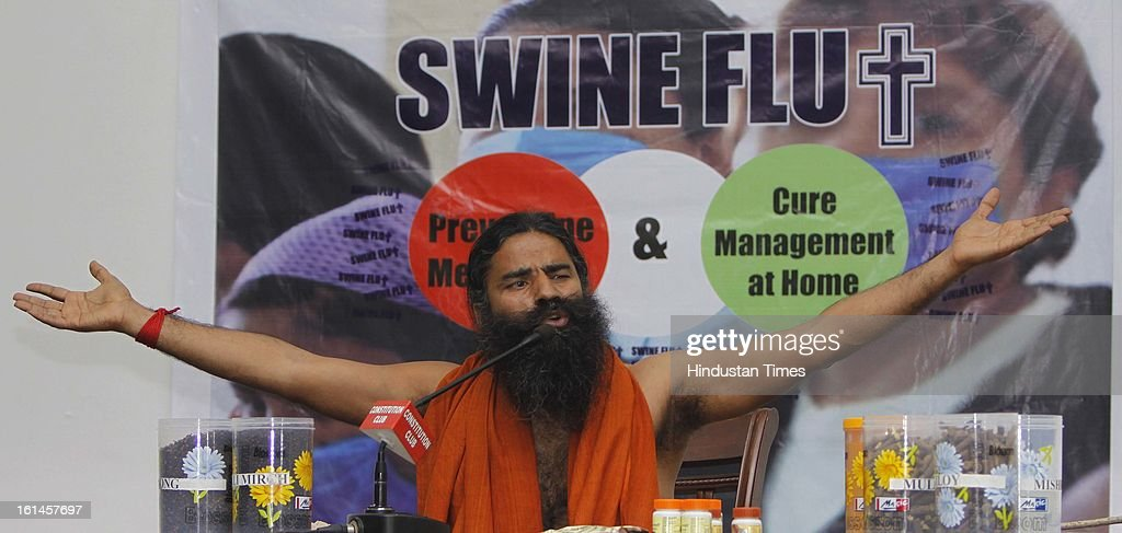 Baba Ramdev during his Press Conference on Swine Flu on February 11, 2013 in New Delhi, India. He said that Modern medical science has no remedy for Swine flu, Dengue, Chikungunya, but Yoga and Ayurveda have the cure.