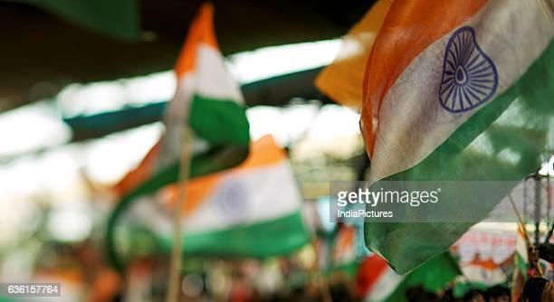 Baba Ramdev Supporters Waving Indian Flags