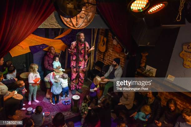 Baba Ras D the premiere child entertainer in DC these days sings to the crowd as he closes a performance at BloomBars on Saturday November 11 in...