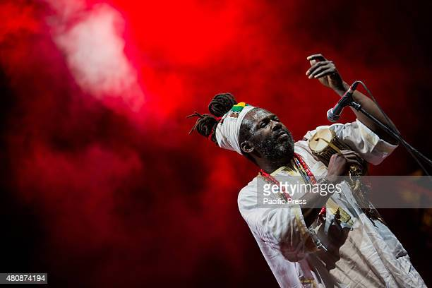 Baba Sissoko African singer and musician leader of African blues and ethno jazz performs live on the stage at Villa Ada His sounds and rhythms of...