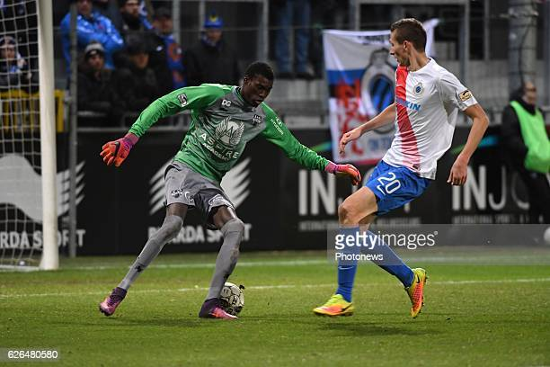 Babacar Niasse goalkeeper of Eupen and Hans Vanaken midfielder of Club Brugge pictured during Croky cup 1/8 F match between KASEupen and Club Brugge...