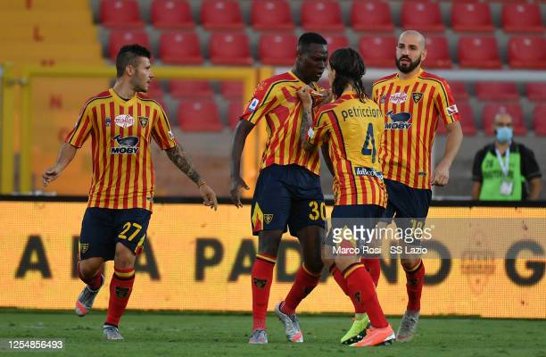 Babacar of UC Lecce celebrates the first goal with his team mates during the Serie A match between US Lecce and SS Lazio at Stadio Via del Mare on...