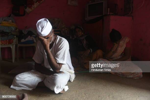 Babaji Fatangad mourns on the death of his son Rahul Fatangade happened in the Koregaon after the clashes between Dalit groups and supporters of...