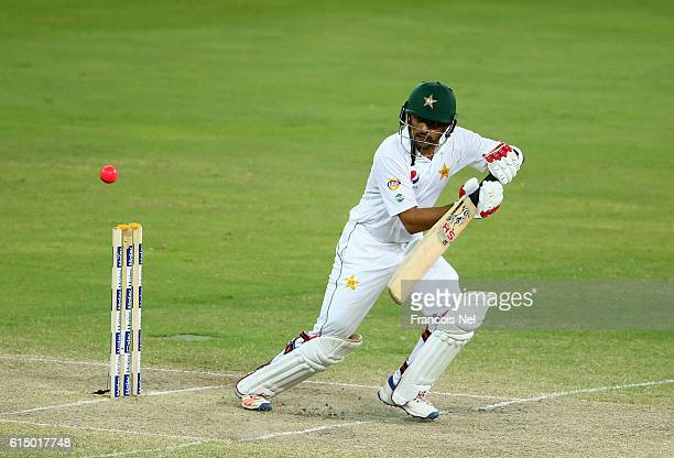 Babar Azam of Pakistan bats during Day Four of the First Test between Pakistan and West Indies at Dubai International Cricket Ground on October 16...