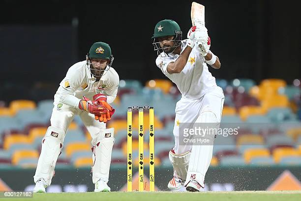 Babar Azam of Pakistan bats during day three of the First Test match between Australia and Pakistan at The Gabba on December 17 2016 in Brisbane...