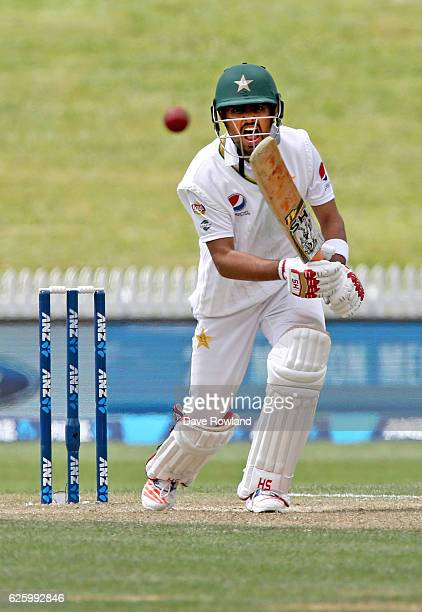 Babar Azam of Pakistan bats during day three of the Second Test match between New Zealand and Pakistan at Seddon Park on November 27 2016 in Hamilton...