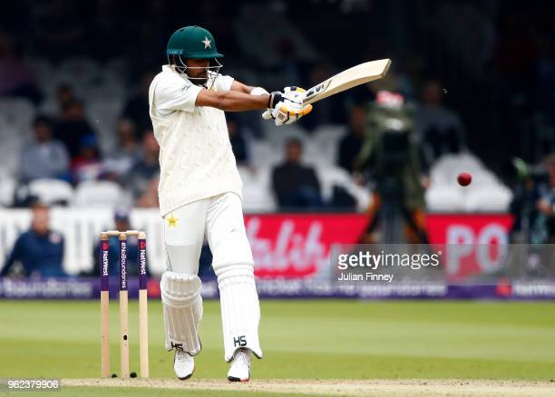 Babar Azam of Pakistan bats during day two of the 1st Test match between England and Pakistan at Lord's Cricket Ground on May 25 2018 in London...