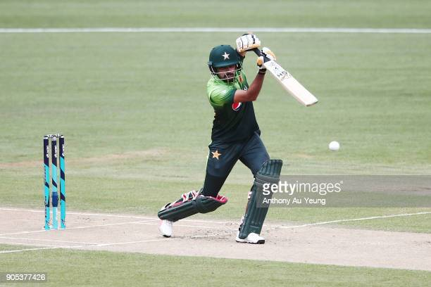 Babar Azam of Pakistan bats during game four of the One Day International Series between New Zealand and Pakistan at Seddon Park on January 16 2018...